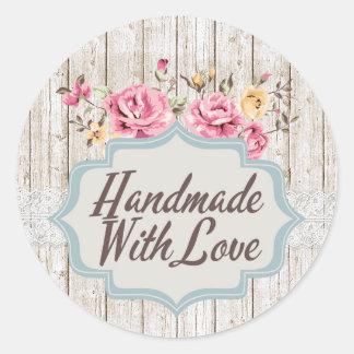 Handgemacht mit Liebe-Shabby Chic-rustikalem mit Runder Aufkleber