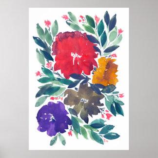 handgemalte Blumen 3a Poster