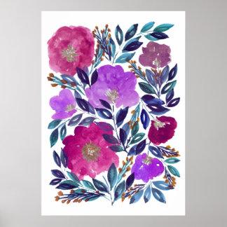 handgemalte Blumen 3d Poster