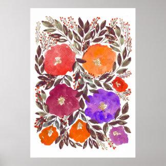 handgemalte Blumen 3f Poster