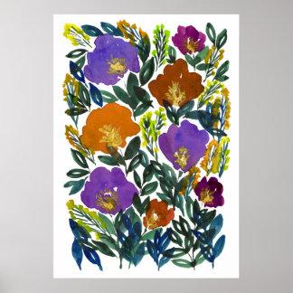 handgemalte Blumen 3g Poster
