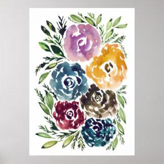 handgemalte Blumen Poster