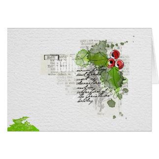 Handgemalte frohe Weihnacht-Stechpalme Karte