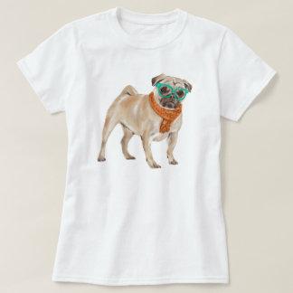 Handgemalte Hipster Frenchie Mops-Bulldogge T-Shirt