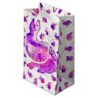 Handgemalte lila Häschen-Geschenk-Tasche Kleine Geschenktüte