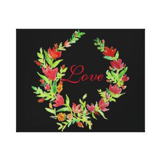 Handgemalter BlumenWreath auf Leinwand