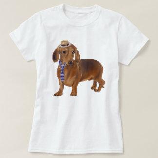 Handgemalter Hipster-Dackel-Hund T-Shirt