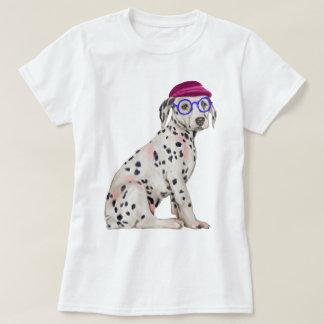 Handgemalter Hipster-dalmatinischer gepunkteter T-Shirt