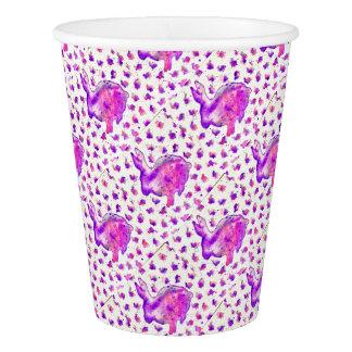 Handgemaltes lila Häschen-Papierschale Pappbecher