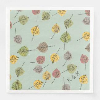 Handgemaltes Watercoloraspen-Blätter auf weisem Papierserviette