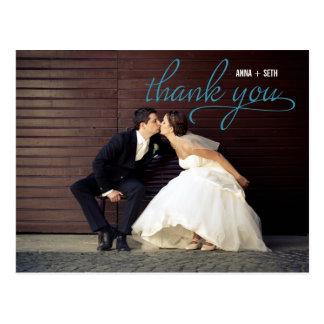 HANDGESCHRIEBEN danke Postkarte - Blau