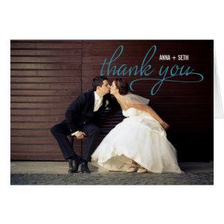 HANDGESCHRIEBENE Hochzeit danken Ihnen Foto-Karte Mitteilungskarte