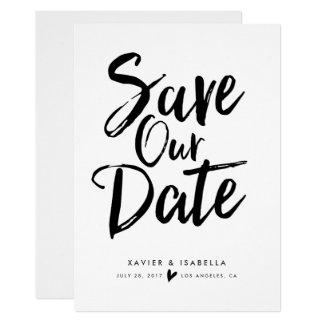 Handgeschriebene Skript-Save the Date Mitteilung Karte