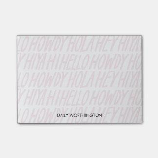 Handmit buchstaben gekennzeichnete Hellos Post-it Klebezettel