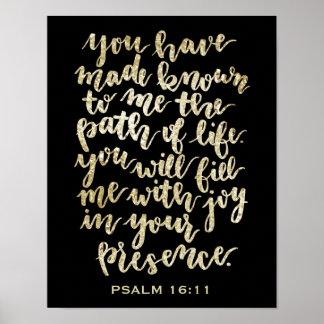 Handmit buchstaben gekennzeichneter Psalm-16:11 Poster