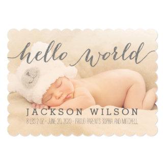 Handschrifts-Baby-Geburts-Mitteilungs-Foto-Karte 12,7 X 17,8 Cm Einladungskarte