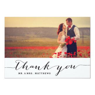 Handschrifts-Hochzeits-Foto danken Ihnen zu 12,7 X 17,8 Cm Einladungskarte