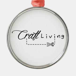 Handwerks-lebendes Logo Silbernes Ornament