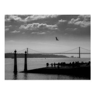Hängebrücke in Lissabon Postkarte