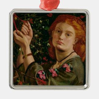 Hängen des Mistelzweiges Quadratisches Silberfarbenes Ornament