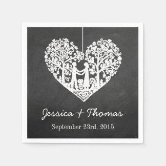 Hängende Herz-Baum-Tafel-Hochzeits-Sammlung Papierservietten