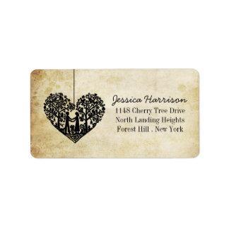 Hängende Herz-Baum-Vintage Hochzeits-Sammlung Adressetiketten