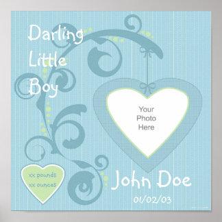Hängende Herz-Jungen-Einklebebuch-Seite Poster