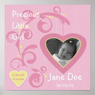 Hängende Herz-Mädchen-Einklebebuch-Seite Poster