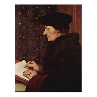 Hans Holbein - Porträt von Erasmus von Rotterdam Postkarte