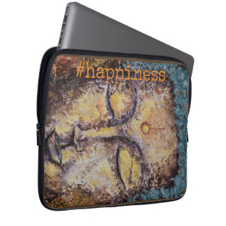 #happiness Zen-Buddha-Aquarell-Kunst-Laptop-Hülse Laptopschutzhülle