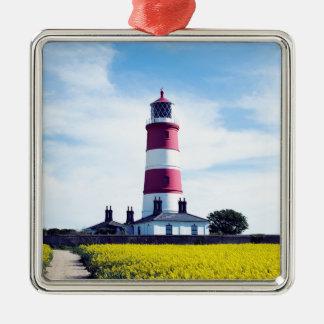 Happisburgh Leuchtturm Quadratisches Silberfarbenes Ornament