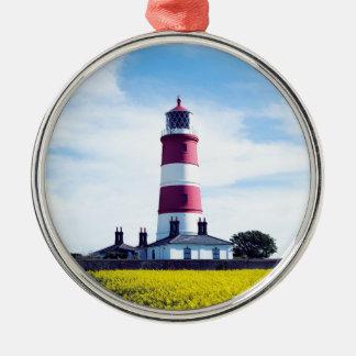 Happisburgh Leuchtturm Rundes Silberfarbenes Ornament