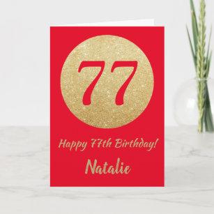 Happy 77. Geburtstags-Rot- und Gold-Glitzer-Card Karte