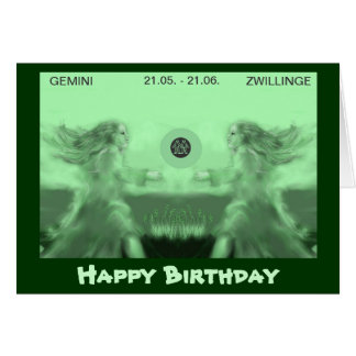 happy birthday --zodiac - Zwillinge Grußkarte