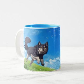 Happy day mug - Finnish Lapphund Zweifarbige Tasse