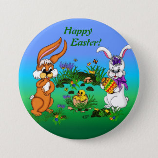 Happy Easter! Rabbit with Bunny and Chick Runder Button 7,6 Cm