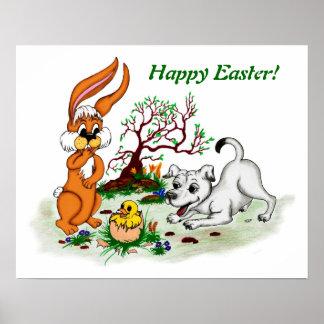 Happy Easter! Welpe, Küken, Hase Poster