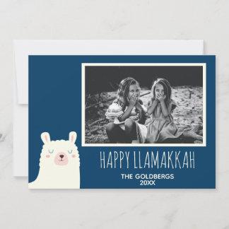 Happy Llamakkah Blue Hanukkah Llama Niedliches Fot Feiertagskarte