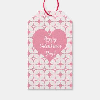 HappyValentines Tagesrosa-weißes Herz-Muster Geschenkanhänger