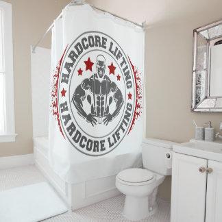 Hardcore, das Bodybuilder biegend anhebt Duschvorhang