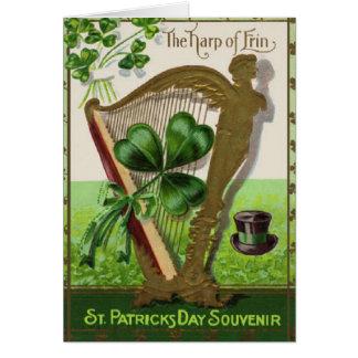 Harfe der Erin St Patrick TagesVintagen Karte
