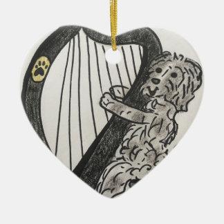 Harfenwelpe Keramik Herz-Ornament