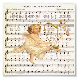 Hark hören die Engel, auf Vintagem Musikblatt zu Fotos