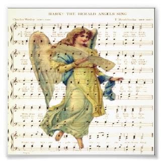 Hark hören die Engel, auf Vintagem Musikblatt zu Photo Druck