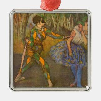 Harlekin und Columbine durch Edgar entgasen Quadratisches Silberfarbenes Ornament