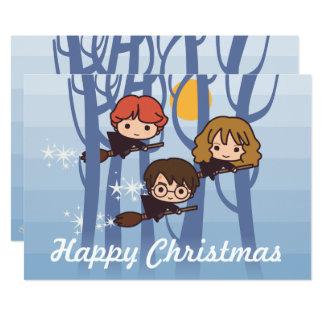 Harry, Ron, et vol de Hermione dans Noël en bois Carton D'invitation 12,7 Cm X 17,78 Cm