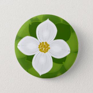 Hartriegel-Blume auf grünem Hintergrund Runder Button 5,1 Cm