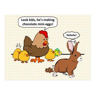 Häschen lässt Schokolade lustigen Cartoon kacken Postkarte