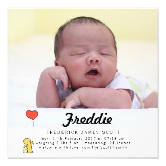 Häschen-Liebe-Baby-Mitteilungs-Karte Quadratische 13,3 Cm Einladungskarte