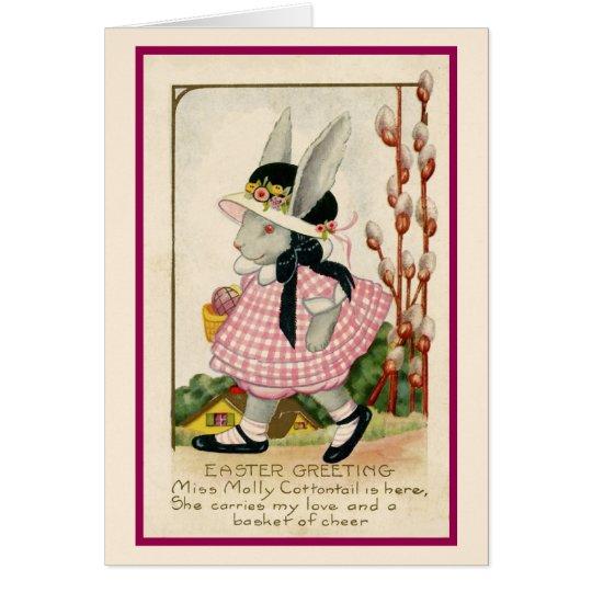 Häschen-Mädchen-Ostern-Karte Grußkarte
